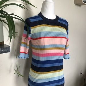 H&M Rainbow Ribbed Striped Tunic Colorful Stretch